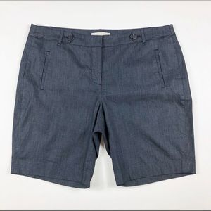 Ann Taylor LOFT Dark Chambray Bermuda Shorts